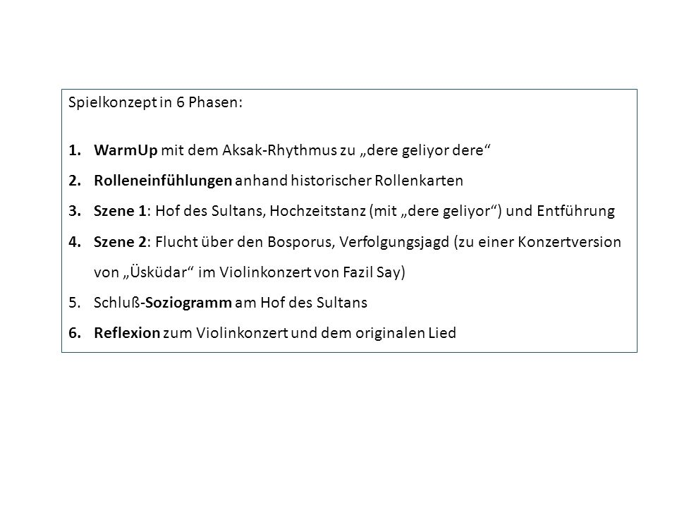 Spielkonzept in 6 Phasen: