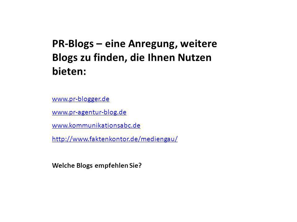PR-Blogs – eine Anregung, weitere Blogs zu finden, die Ihnen Nutzen bieten: