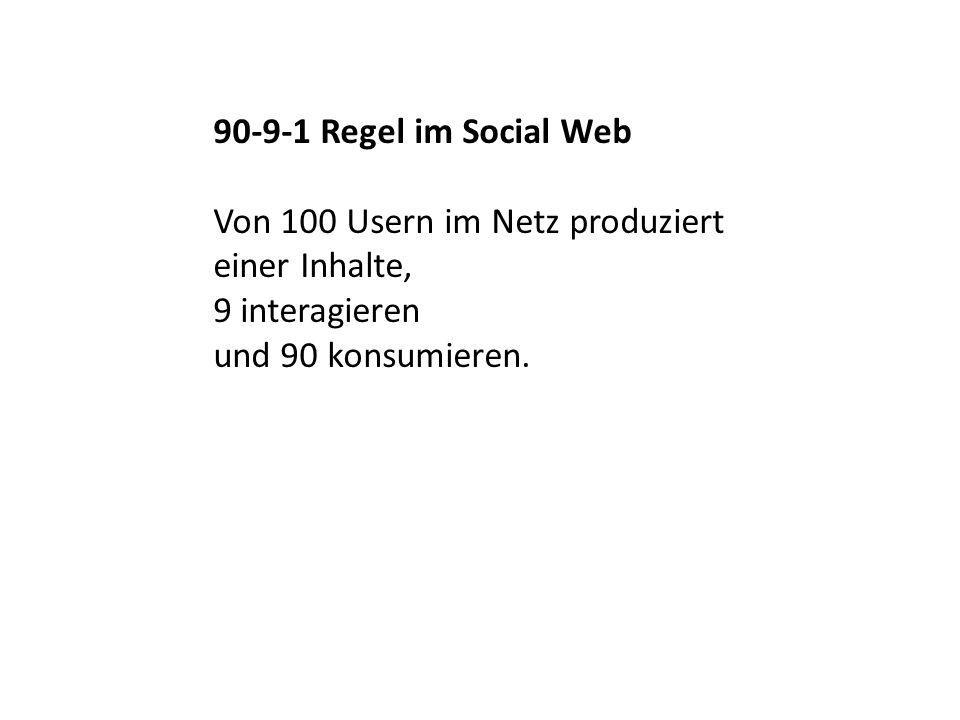 90-9-1 Regel im Social Web Von 100 Usern im Netz produziert.