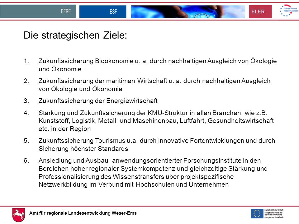 Die strategischen Ziele: