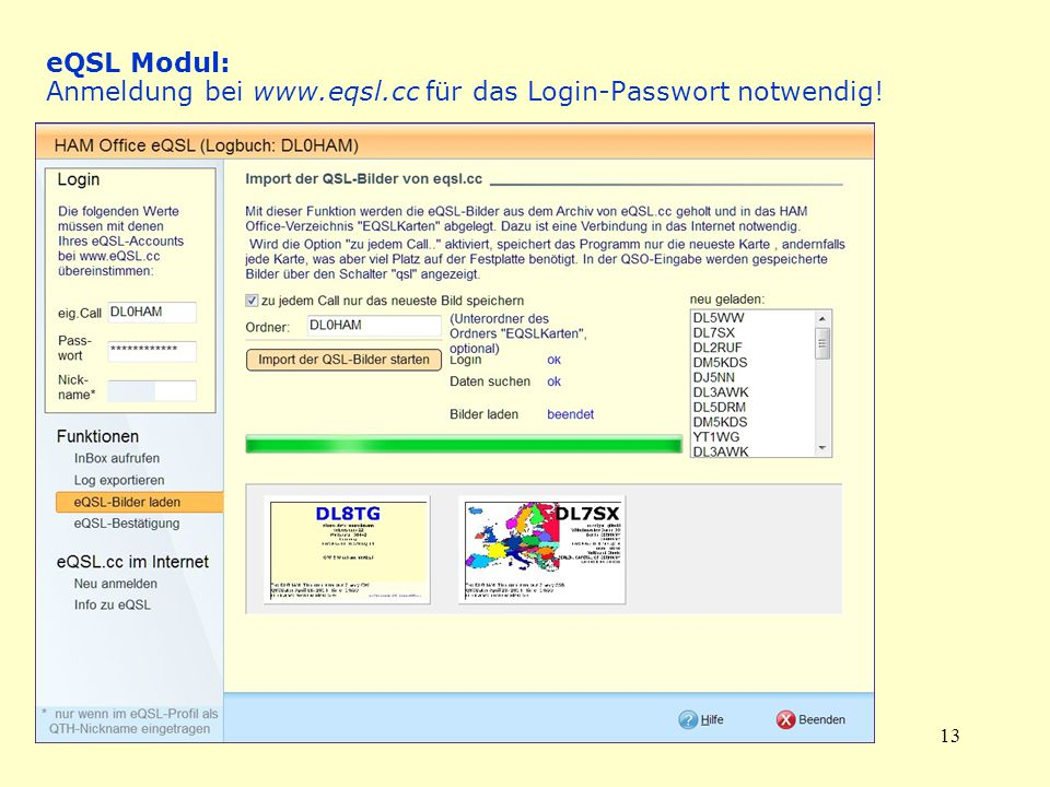 eQSL Modul: Anmeldung bei www. eqsl