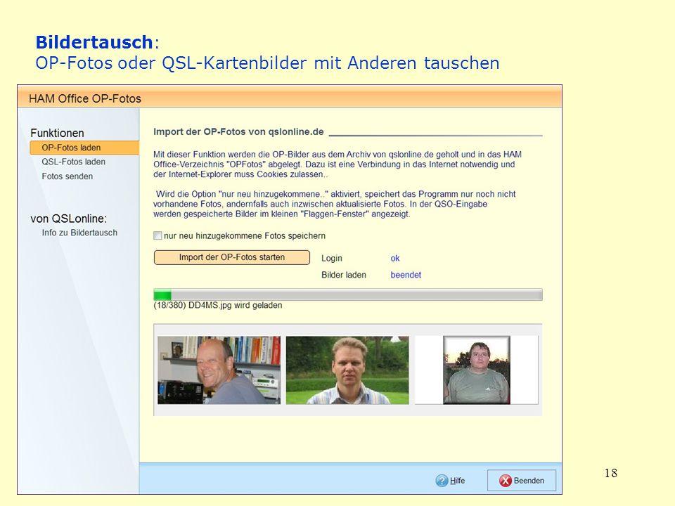 Bildertausch: OP-Fotos oder QSL-Kartenbilder mit Anderen tauschen