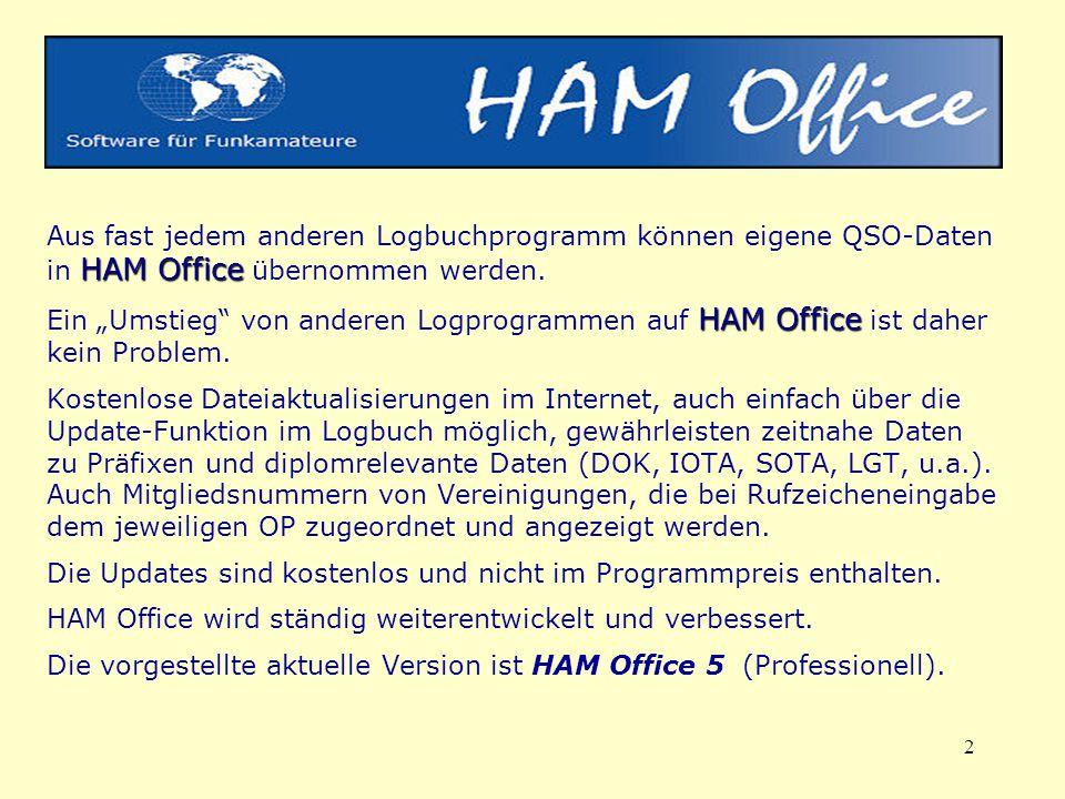 Aus fast jedem anderen Logbuchprogramm können eigene QSO-Daten in HAM Office übernommen werden.