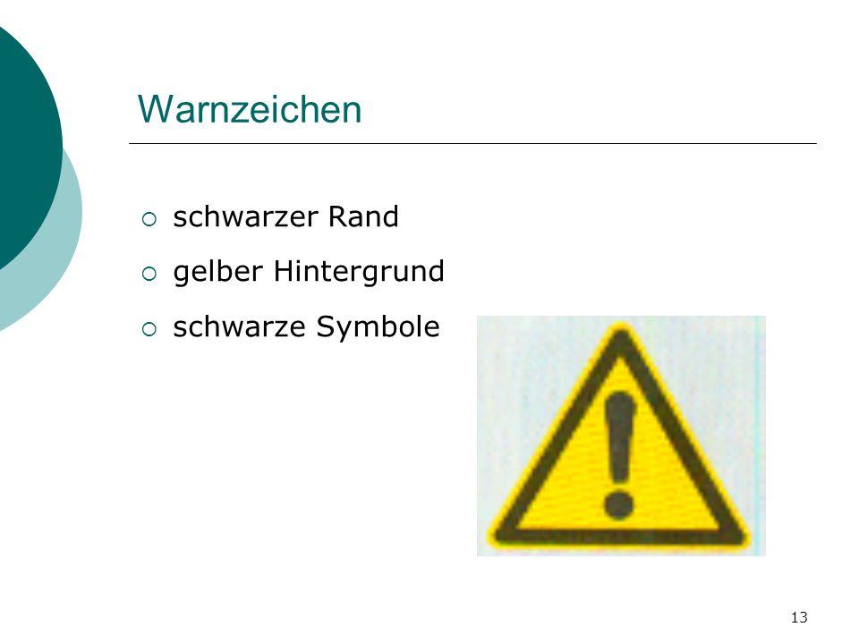 Warnzeichen schwarzer Rand gelber Hintergrund schwarze Symbole