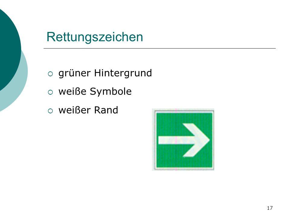 Rettungszeichen grüner Hintergrund weiße Symbole weißer Rand