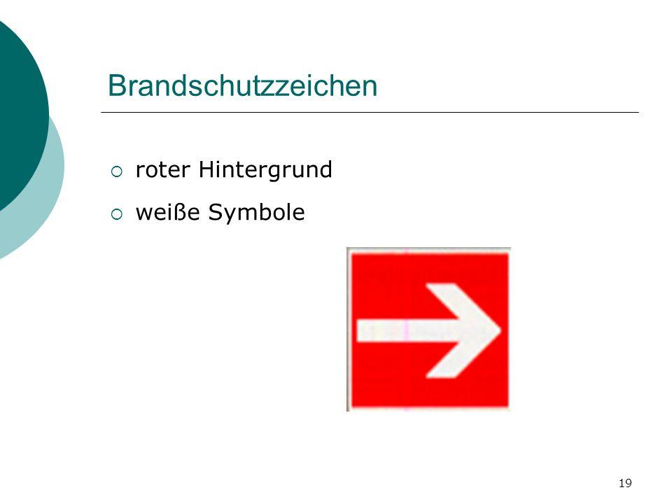 Brandschutzzeichen roter Hintergrund weiße Symbole