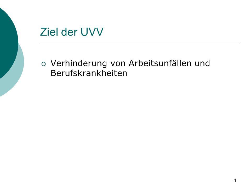 Ziel der UVV Verhinderung von Arbeitsunfällen und Berufskrankheiten