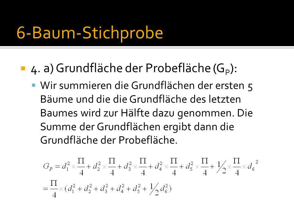 6-Baum-Stichprobe 4. a) Grundfläche der Probefläche (GP):