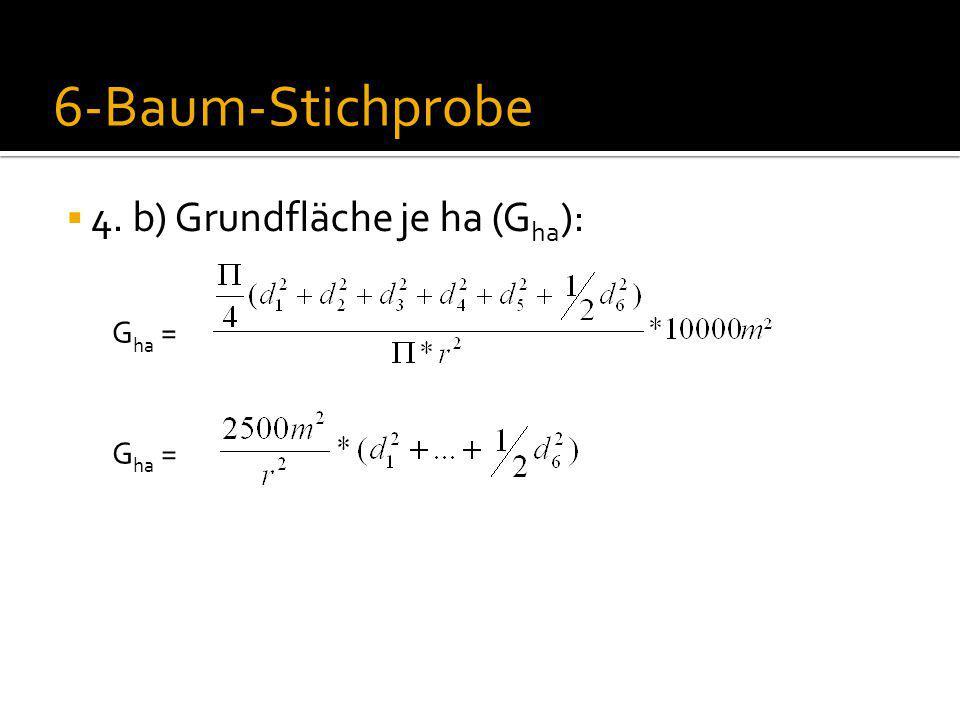 6-Baum-Stichprobe 4. b) Grundfläche je ha (Gha): Gha = Gha =