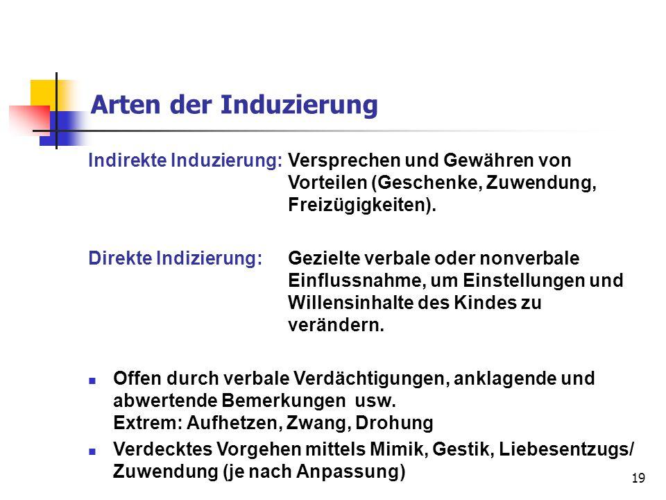 Arten der Induzierung Indirekte Induzierung: Versprechen und Gewähren von Vorteilen (Geschenke, Zuwendung, Freizügigkeiten).