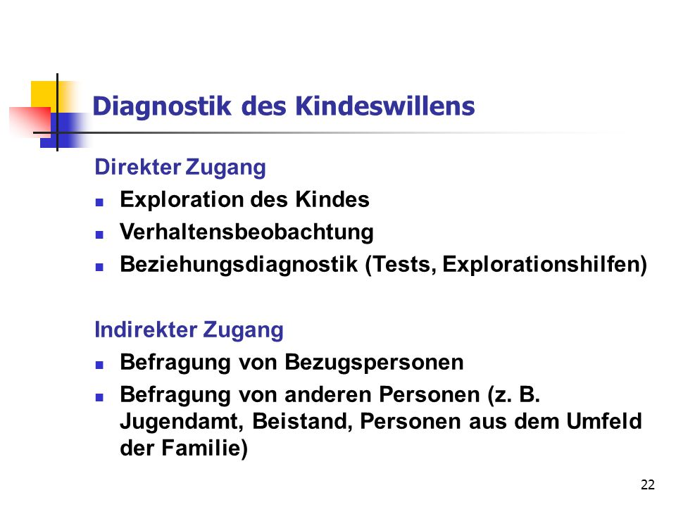 Diagnostik des Kindeswillens