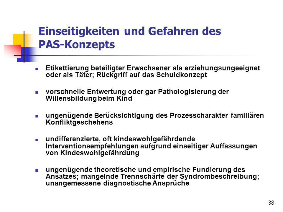 Einseitigkeiten und Gefahren des PAS-Konzepts