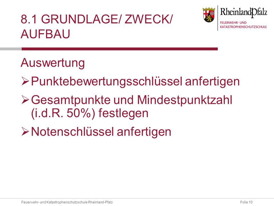 8.1 Grundlage/ Zweck/ Aufbau