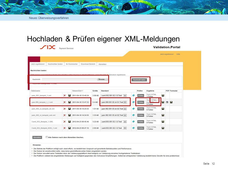 Hochladen & Prüfen eigener XML-Meldungen
