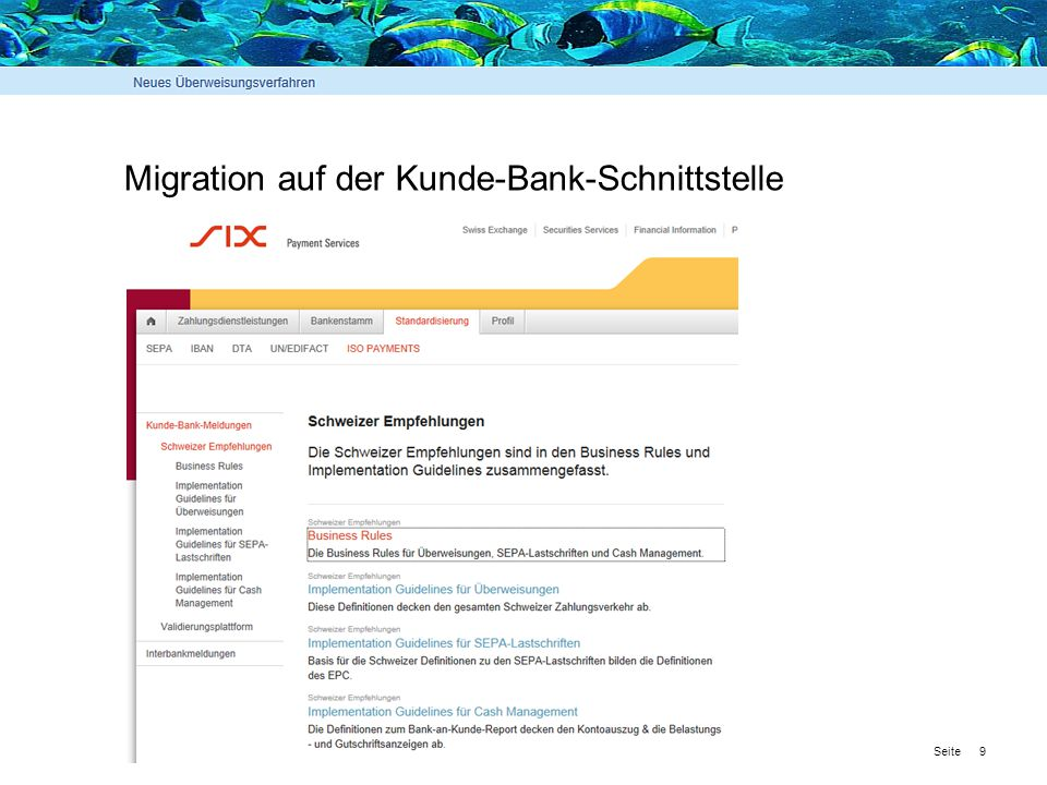 Migration auf der Kunde-Bank-Schnittstelle