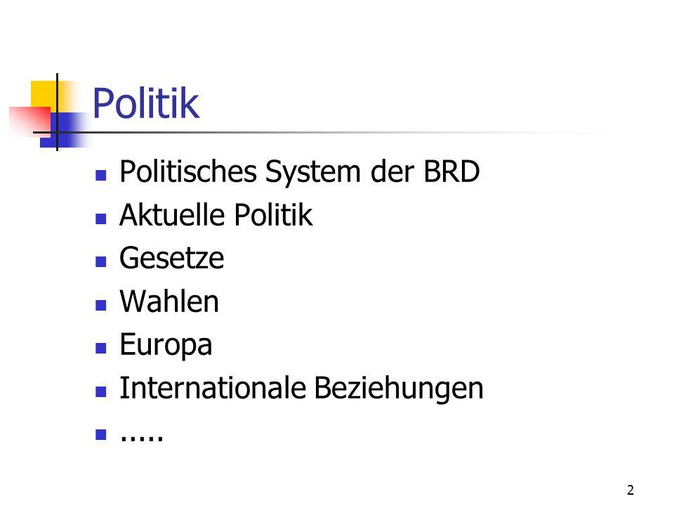 Politik Politisches System der BRD Aktuelle Politik Gesetze Wahlen