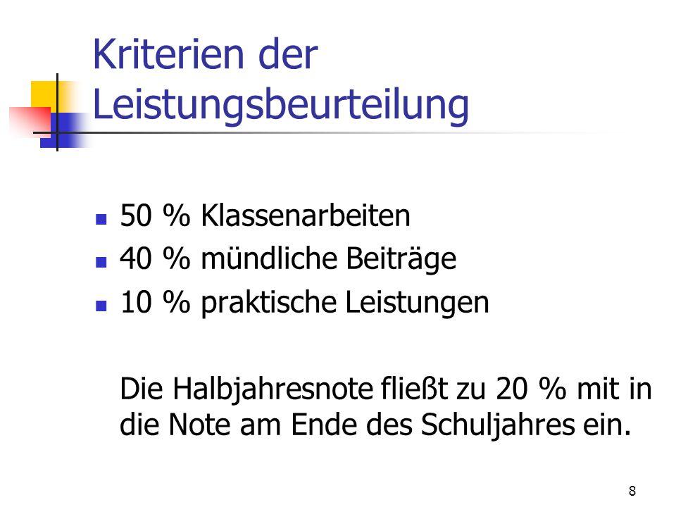 Kriterien der Leistungsbeurteilung