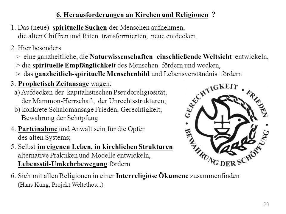 6. Herausforderungen an Kirchen und Religionen