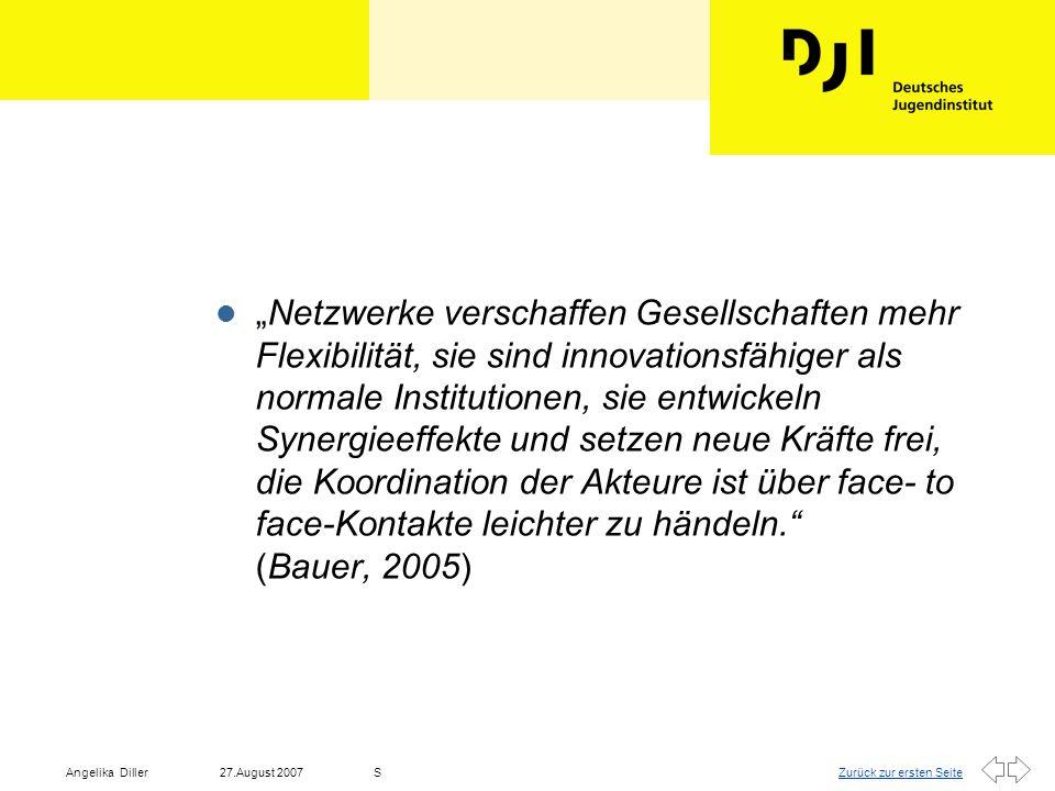 """""""Netzwerke verschaffen Gesellschaften mehr Flexibilität, sie sind innovationsfähiger als normale Institutionen, sie entwickeln Synergieeffekte und setzen neue Kräfte frei, die Koordination der Akteure ist über face- to face-Kontakte leichter zu händeln. (Bauer, 2005)"""