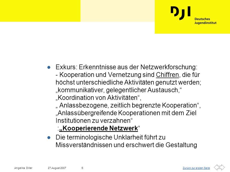"""Exkurs: Erkenntnisse aus der Netzwerkforschung: - Kooperation und Vernetzung sind Chiffren, die für höchst unterschiedliche Aktivitäten genutzt werden; """"kommunikativer, gelegentlicher Austausch, """"Koordination von Aktivitäten , """" Anlassbezogene, zeitlich begrenzte Kooperation , """"Anlassübergreifende Kooperationen mit dem Ziel Institutionen zu verzahnen :""""Kooperierende Netzwerk"""