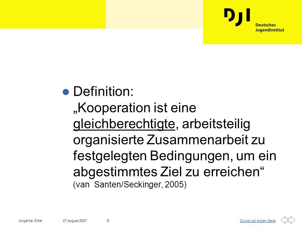 """Definition: """"Kooperation ist eine gleichberechtigte, arbeitsteilig organisierte Zusammenarbeit zu festgelegten Bedingungen, um ein abgestimmtes Ziel zu erreichen (van Santen/Seckinger, 2005)"""