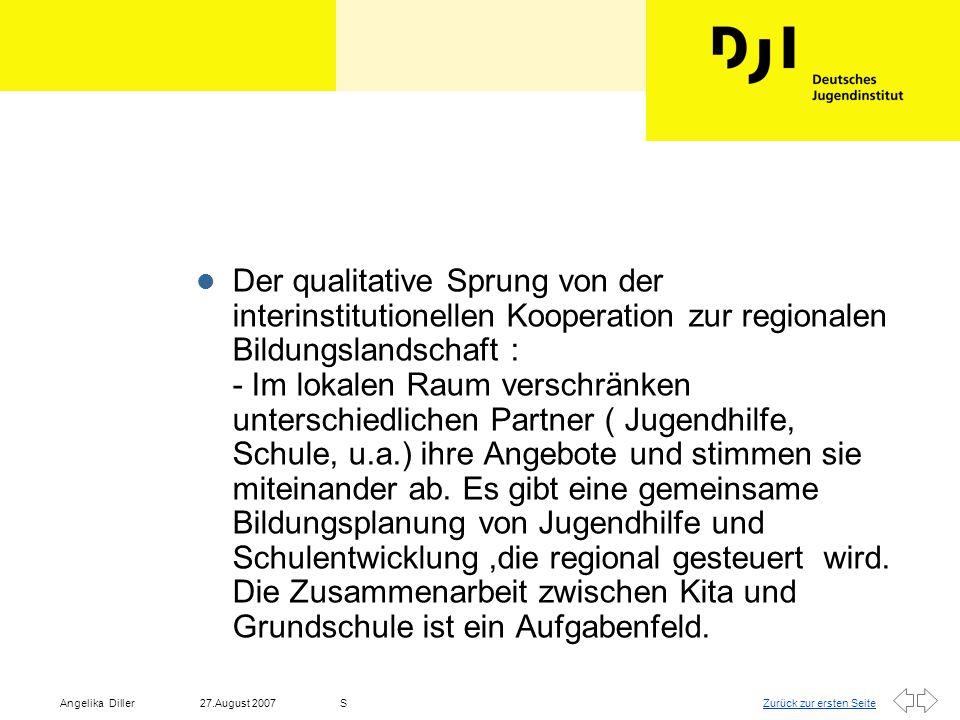 Der qualitative Sprung von der interinstitutionellen Kooperation zur regionalen Bildungslandschaft : - Im lokalen Raum verschränken unterschiedlichen Partner ( Jugendhilfe, Schule, u.a.) ihre Angebote und stimmen sie miteinander ab.