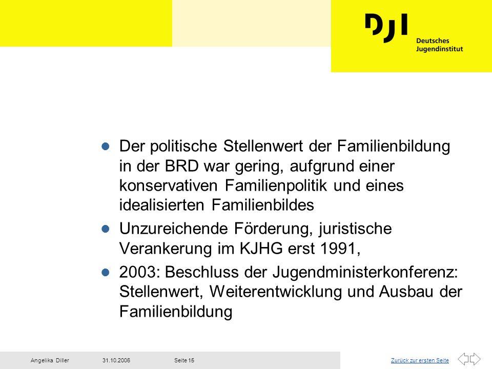Der politische Stellenwert der Familienbildung in der BRD war gering, aufgrund einer konservativen Familienpolitik und eines idealisierten Familienbildes