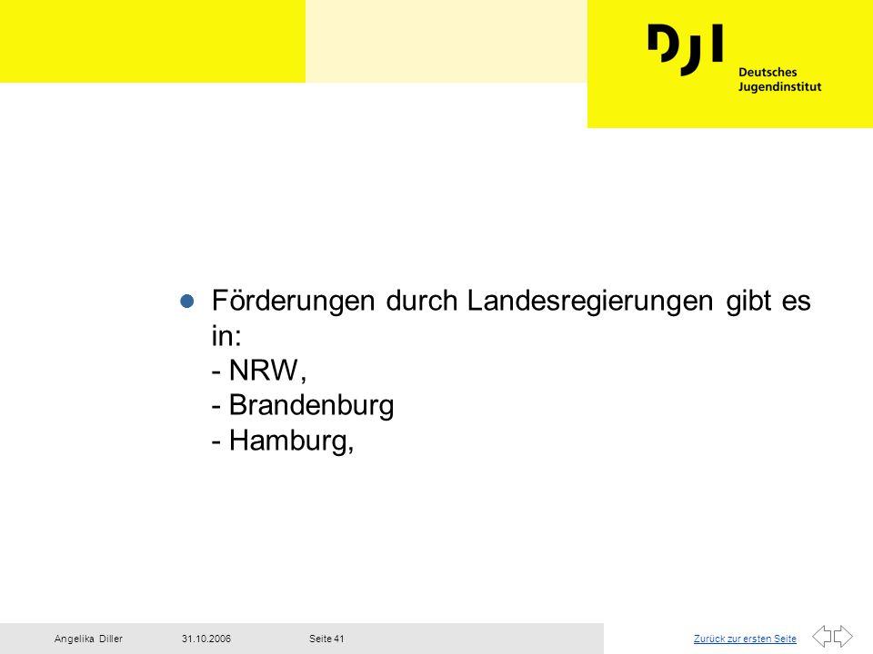 Förderungen durch Landesregierungen gibt es in: - NRW, - Brandenburg - Hamburg,