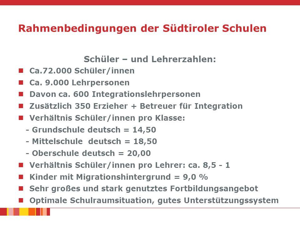 Rahmenbedingungen der Südtiroler Schulen