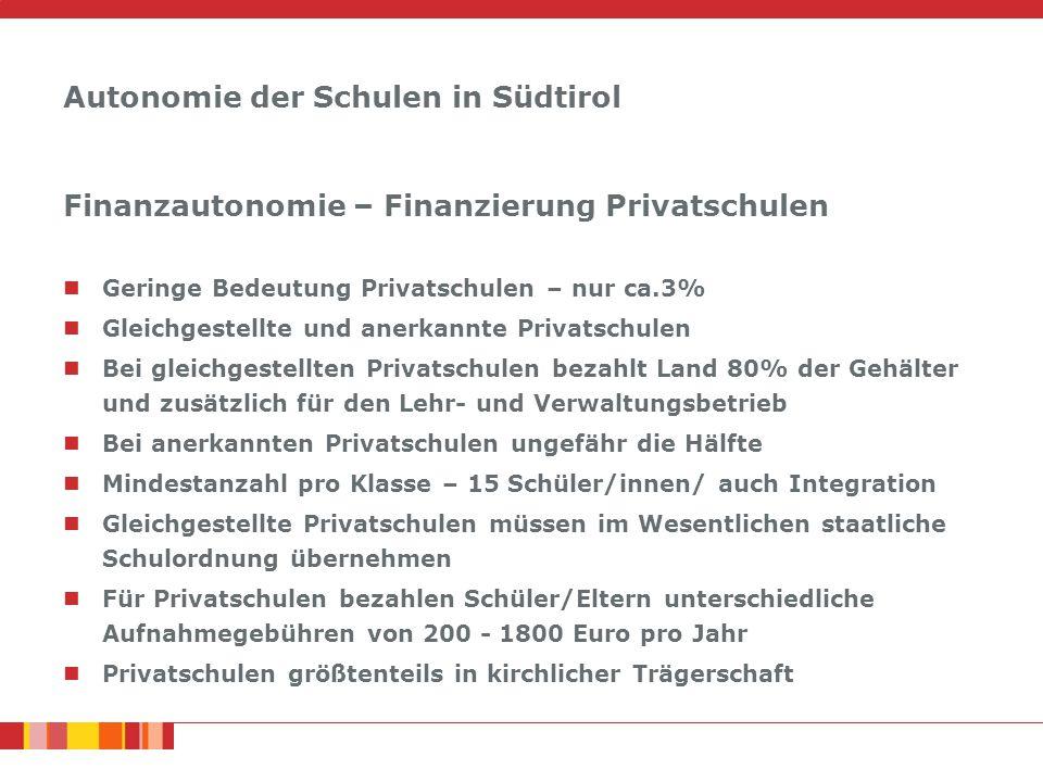 Autonomie der Schulen in Südtirol