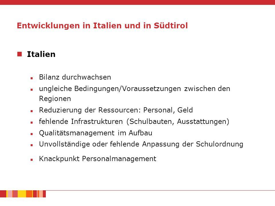 Entwicklungen in Italien und in Südtirol