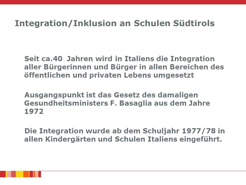 Integration/Inklusion an Schulen Südtirols