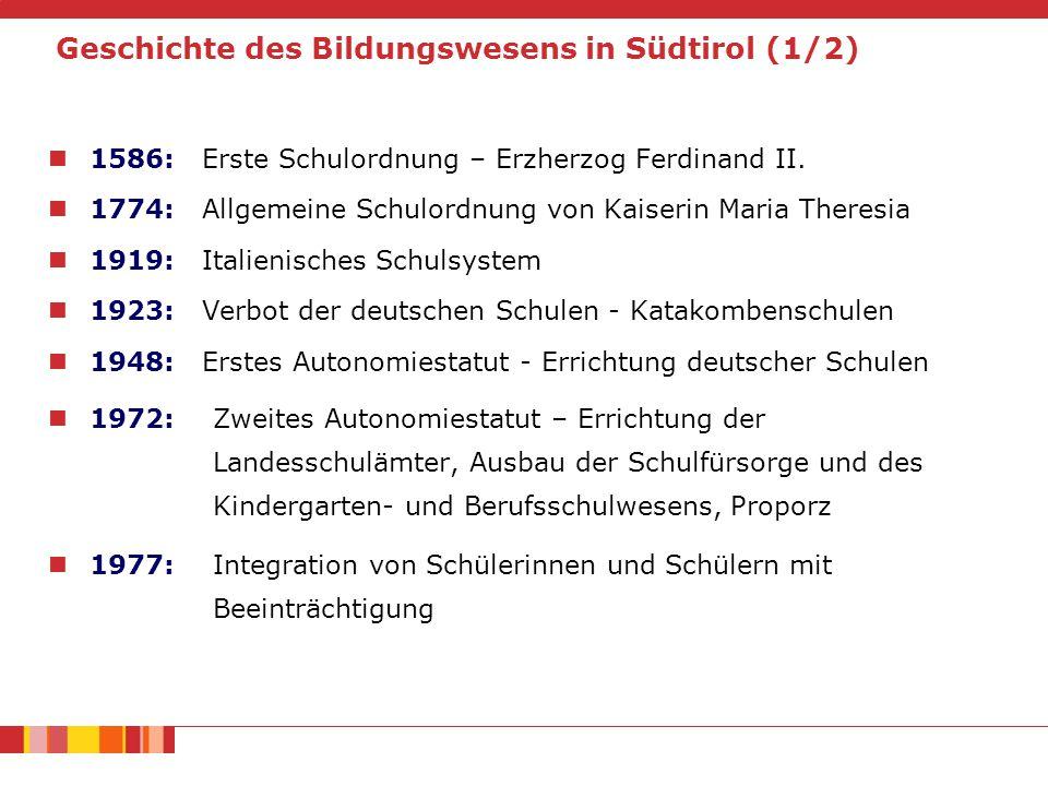 Geschichte des Bildungswesens in Südtirol (1/2)