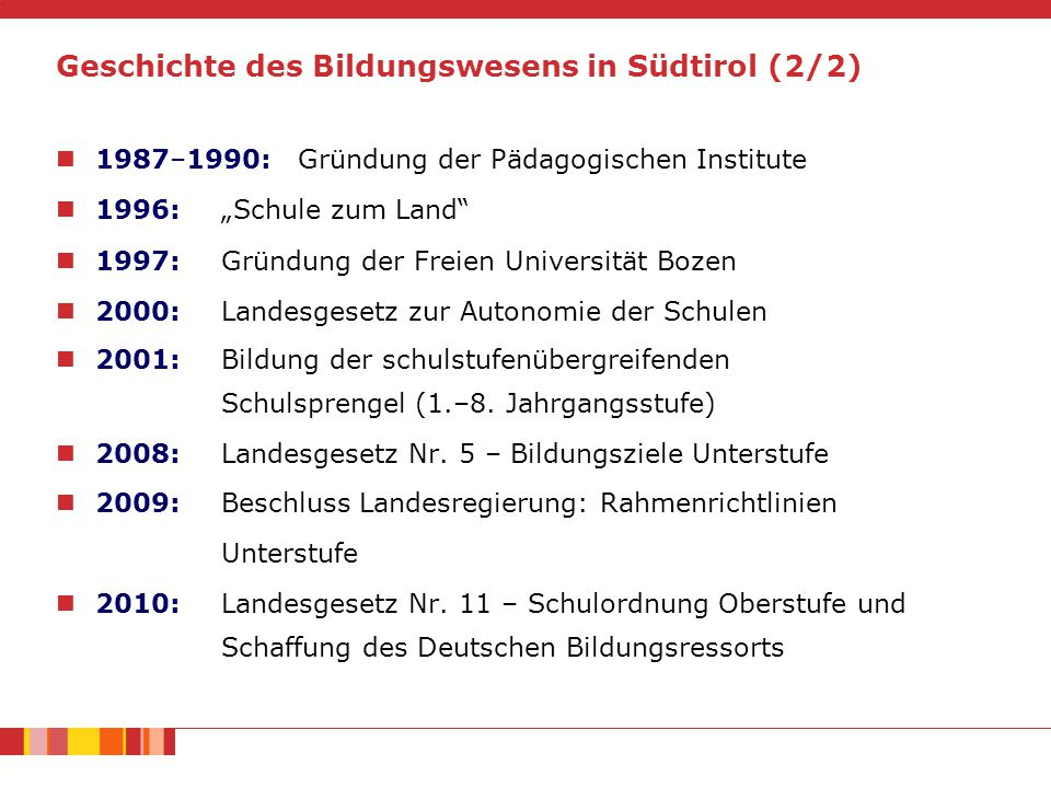 Geschichte des Bildungswesens in Südtirol (2/2)