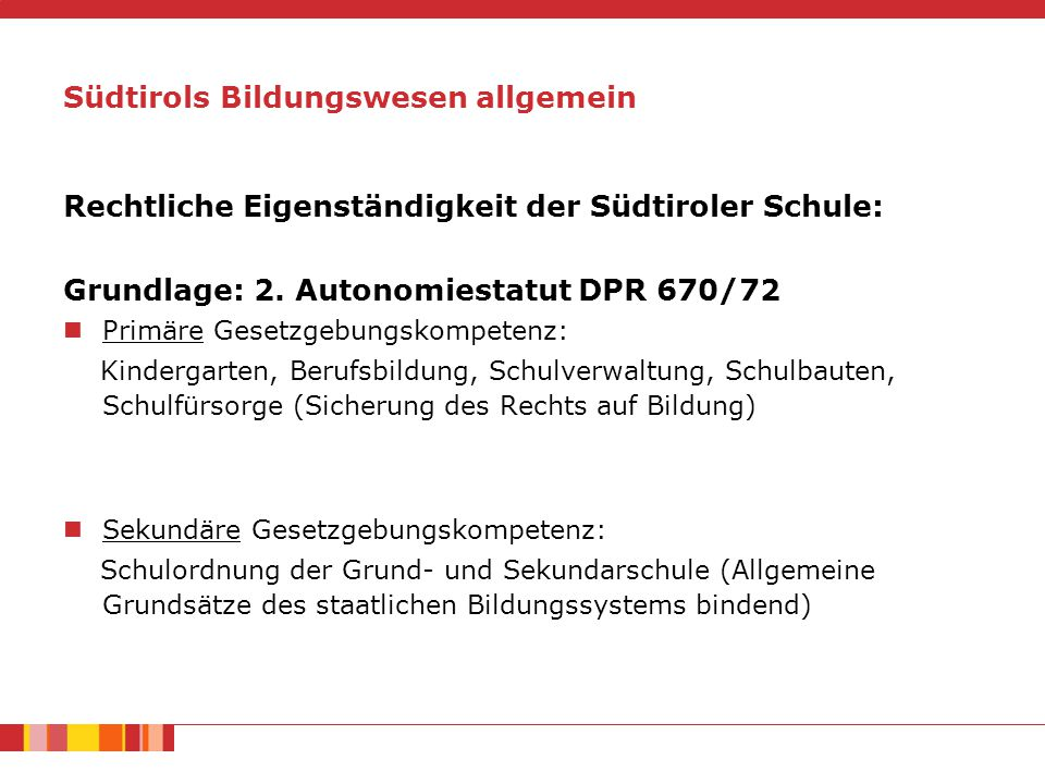 Südtirols Bildungswesen allgemein