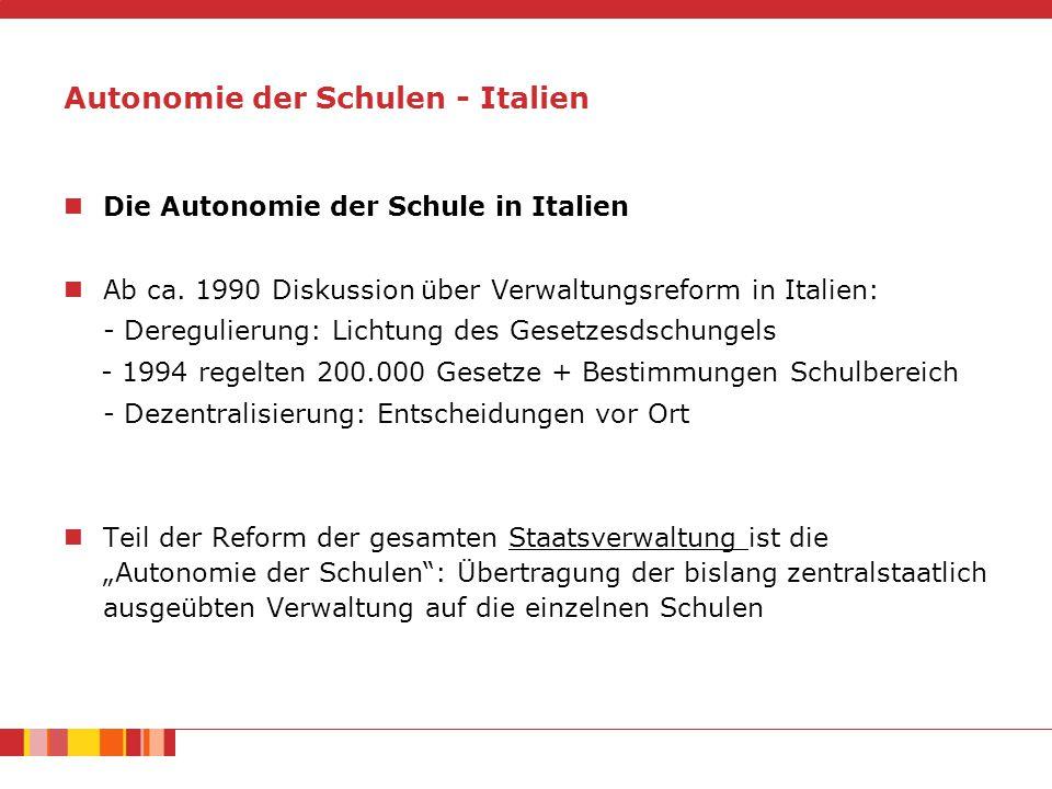 Autonomie der Schulen - Italien