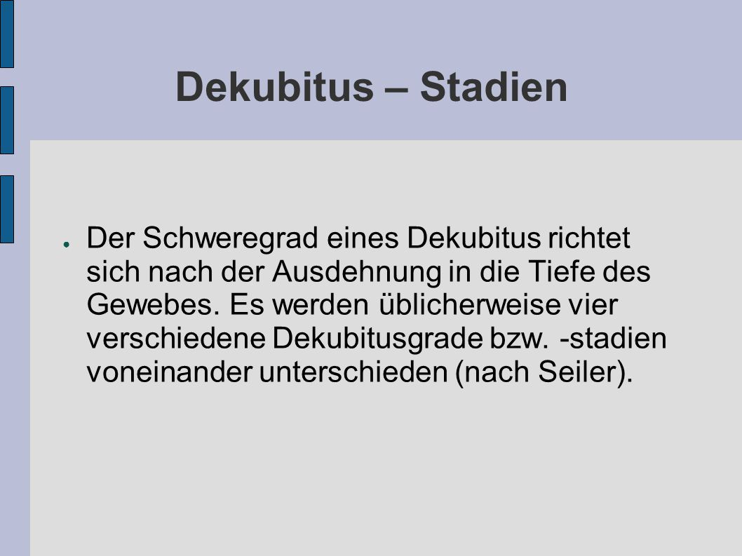 Dekubitus – Stadien