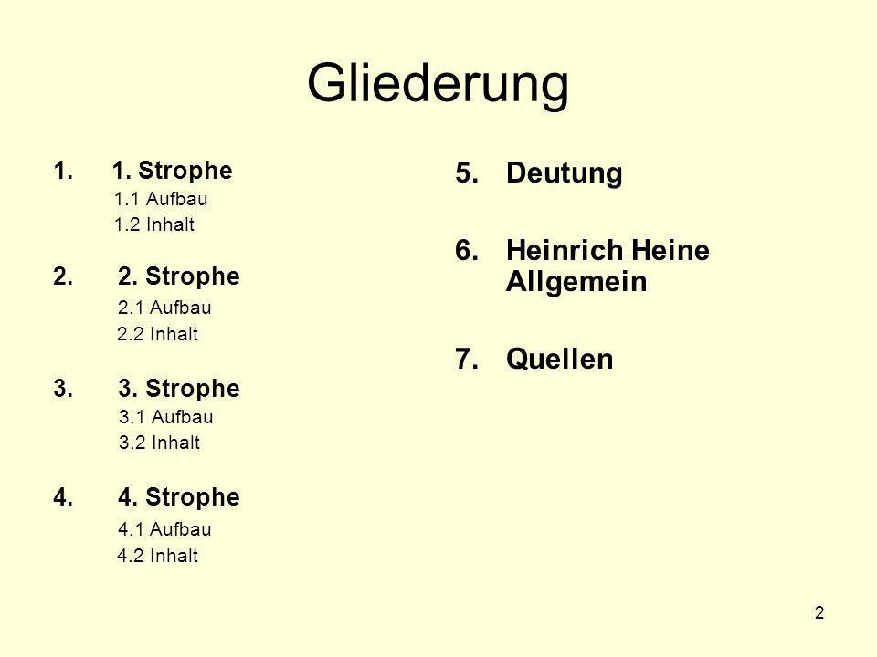 Gliederung Deutung Heinrich Heine Allgemein Quellen 1. Strophe