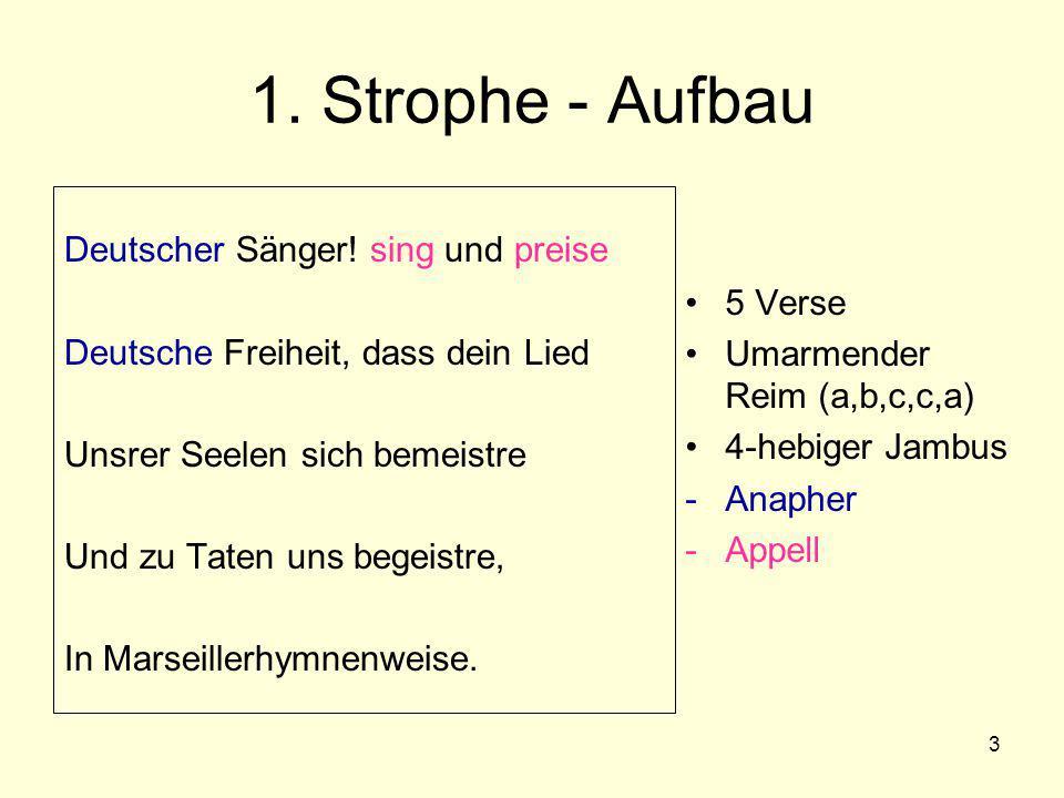 1. Strophe - Aufbau Deutscher Sänger! sing und preise 5 Verse
