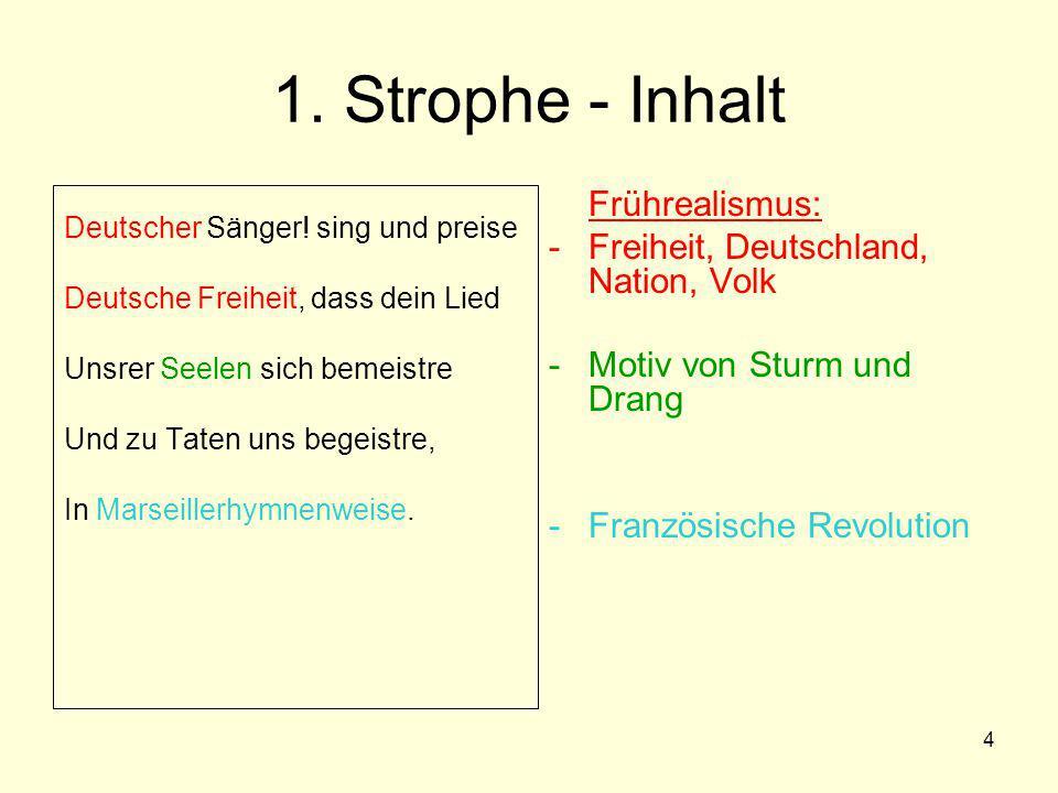 1. Strophe - Inhalt Freiheit, Deutschland, Nation, Volk