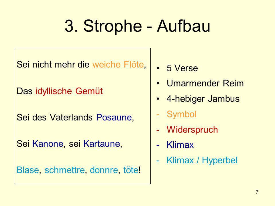 3. Strophe - Aufbau Sei nicht mehr die weiche Flöte,