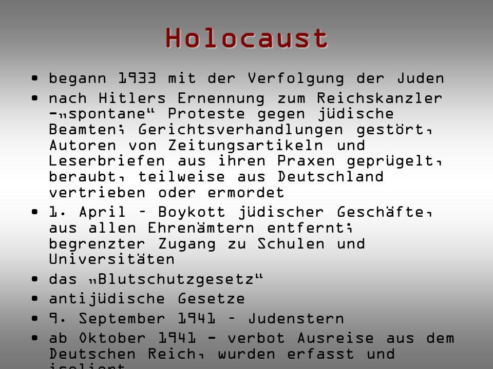 Holocaust begann 1933 mit der Verfolgung der Juden