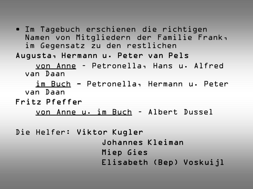 Im Tagebuch erschienen die richtigen Namen von Mitgliedern der Familie Frank, im Gegensatz zu den restlichen
