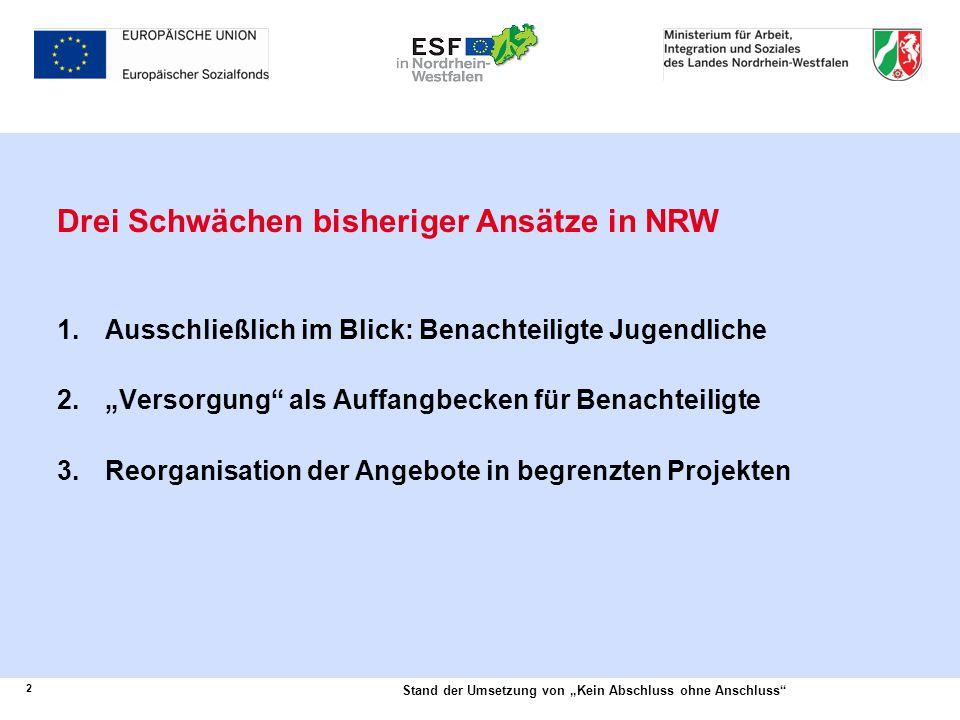 Drei Schwächen bisheriger Ansätze in NRW
