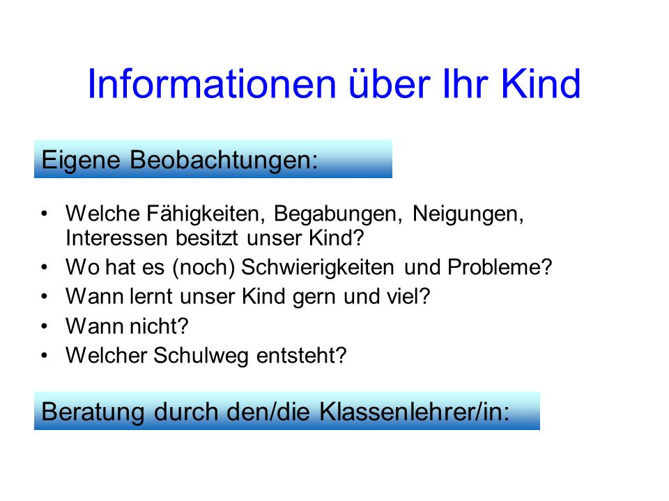 Informationen über Ihr Kind