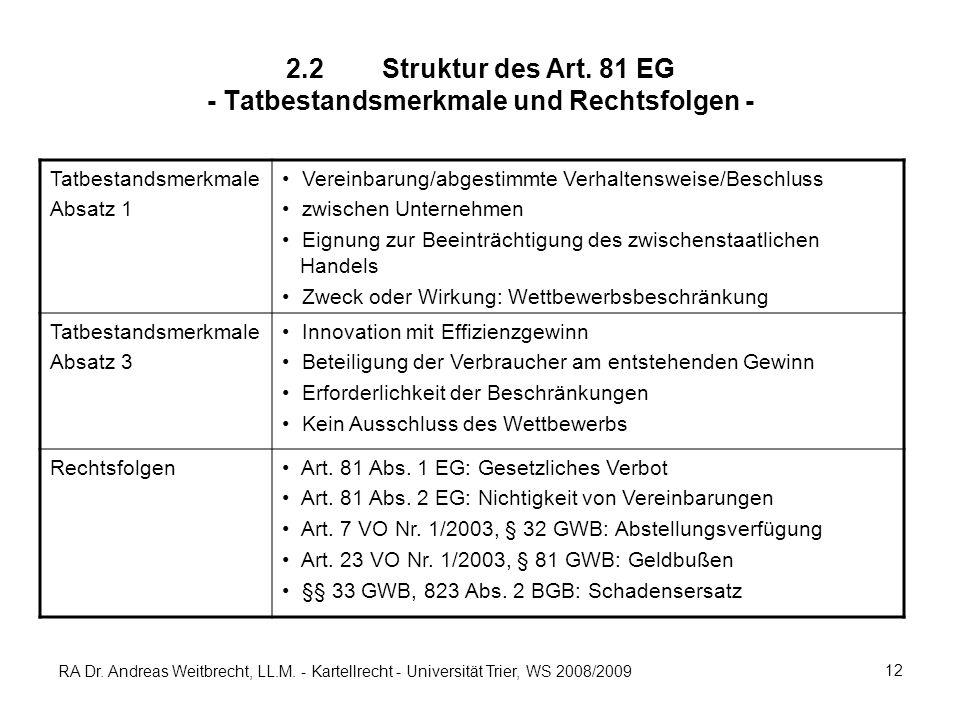 2.2 Struktur des Art. 81 EG - Tatbestandsmerkmale und Rechtsfolgen -