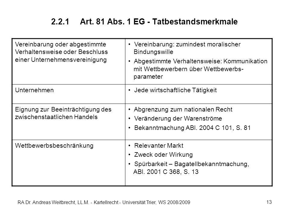 2.2.1 Art. 81 Abs. 1 EG - Tatbestandsmerkmale