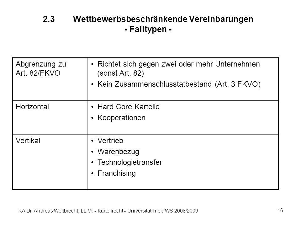 2.3 Wettbewerbsbeschränkende Vereinbarungen - Falltypen -