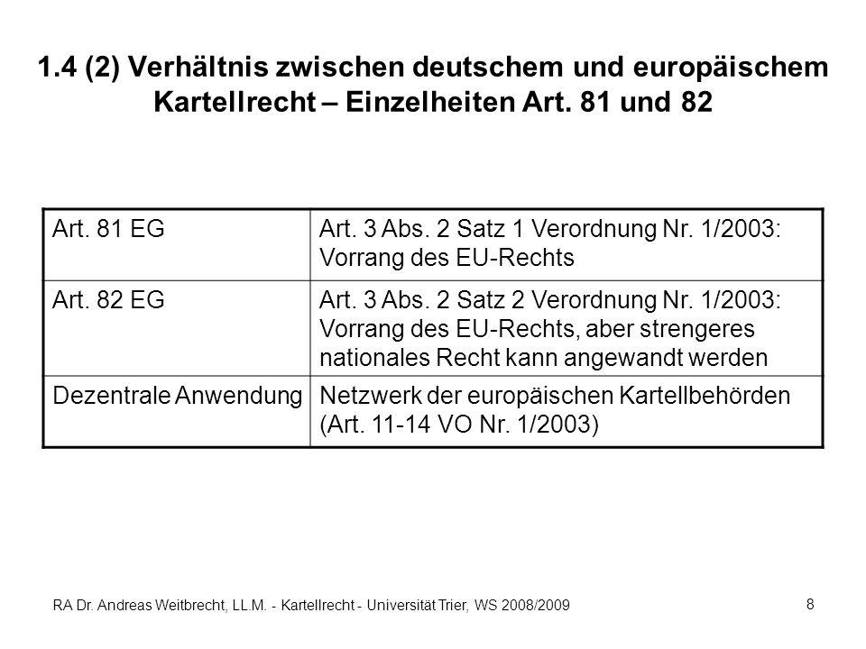 1.4 (2) Verhältnis zwischen deutschem und europäischem Kartellrecht – Einzelheiten Art. 81 und 82