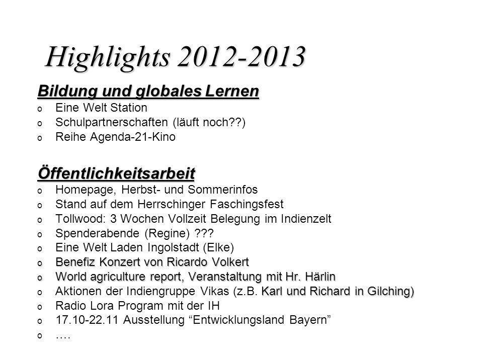 Highlights 2012-2013 Bildung und globales Lernen Öffentlichkeitsarbeit